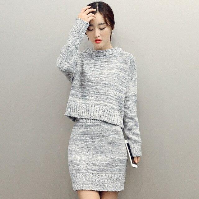 983617b73c44 Aliexpress.com   Buy Fashion Women Sweater Skirt Set Spring Autumn ...