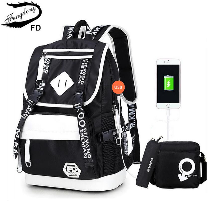FengDong male USB Backpack black one shoulder bag pencil case men school bag set waterproof oxford fabric travel bags bookbag  fengdong men backpack oxford youth fashion brand usb charge designer back pack college bags school bag waterproof backpacks male
