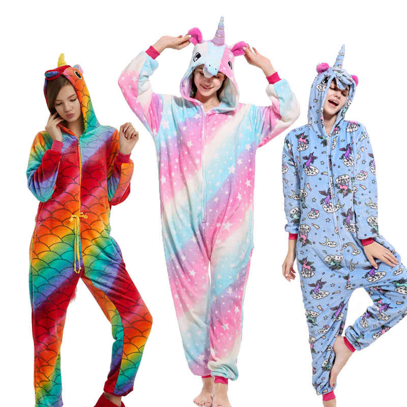 28 New Soft Adult Pajamas Onesie Unisex Animal Cosplay Women Men Flannel  Panda Unicorn Pegasus Sleepwear 50e04e190