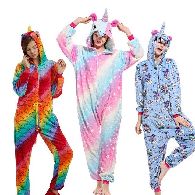 28 New Soft Adult Pajamas Onesie Unisex Animal Cosplay Women Men Flannel  Panda Unicorn Pegasus Sleepwear Winter Cartoon Pyjamas cf19abac1