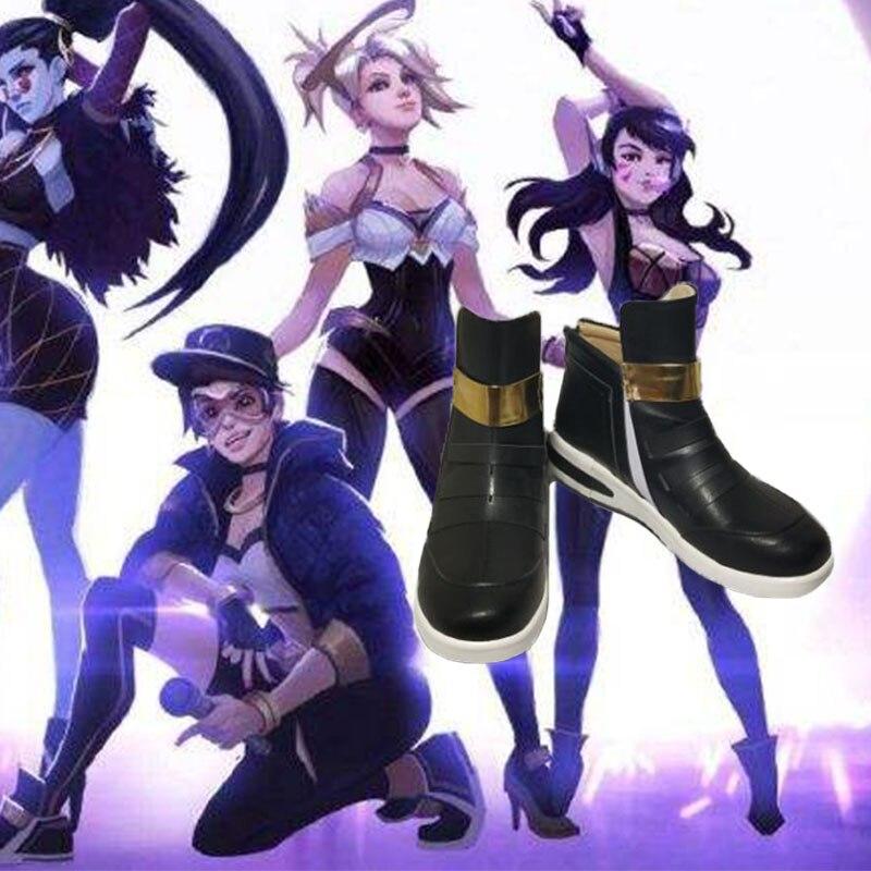 Game LOL K/DA Rogue Assassin Akali Cosplay K/DA Akali sunshine shoes Cosplay Custom men's and women's cartoon shoes