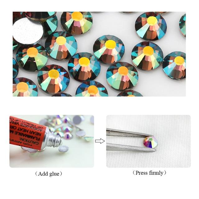 Nouveau couleur fantôme brillant SS3-SS30 verre strass Flatback bricolage ongles déco perles pas à chaud utiliser colle 1440 pièces mariage déco