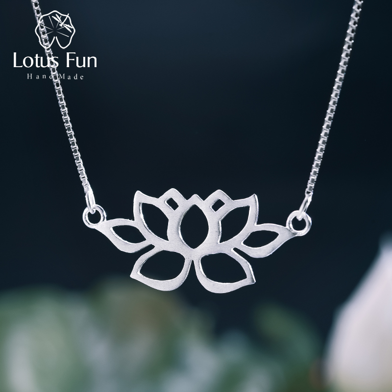 Lotus Fun Real 925 Sterling Silver Handmade Fine Jewelry Hollow Out Lotus Necklace with Pendant Acessorios for Women Collier Lotus Fun Real 925 Sterling Silver Handmade Fine Jewelry Hollow Out Lotus Necklace with Pendant Acessorios for Women Collier