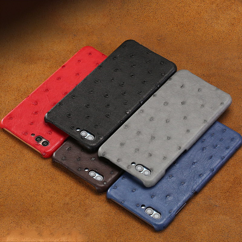 New mezza pacchetto cassa del telefono mobile per Huawei cassa del telefono P20 lite vera pelle di struzzo di Lusso Genuino del Cuoio del telefono caso di protezione - 5