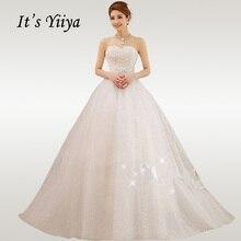 Женское кружевное свадебное платье It's YiiYa, белое элегантное длинное платье со шлейфом без бретелек на лето