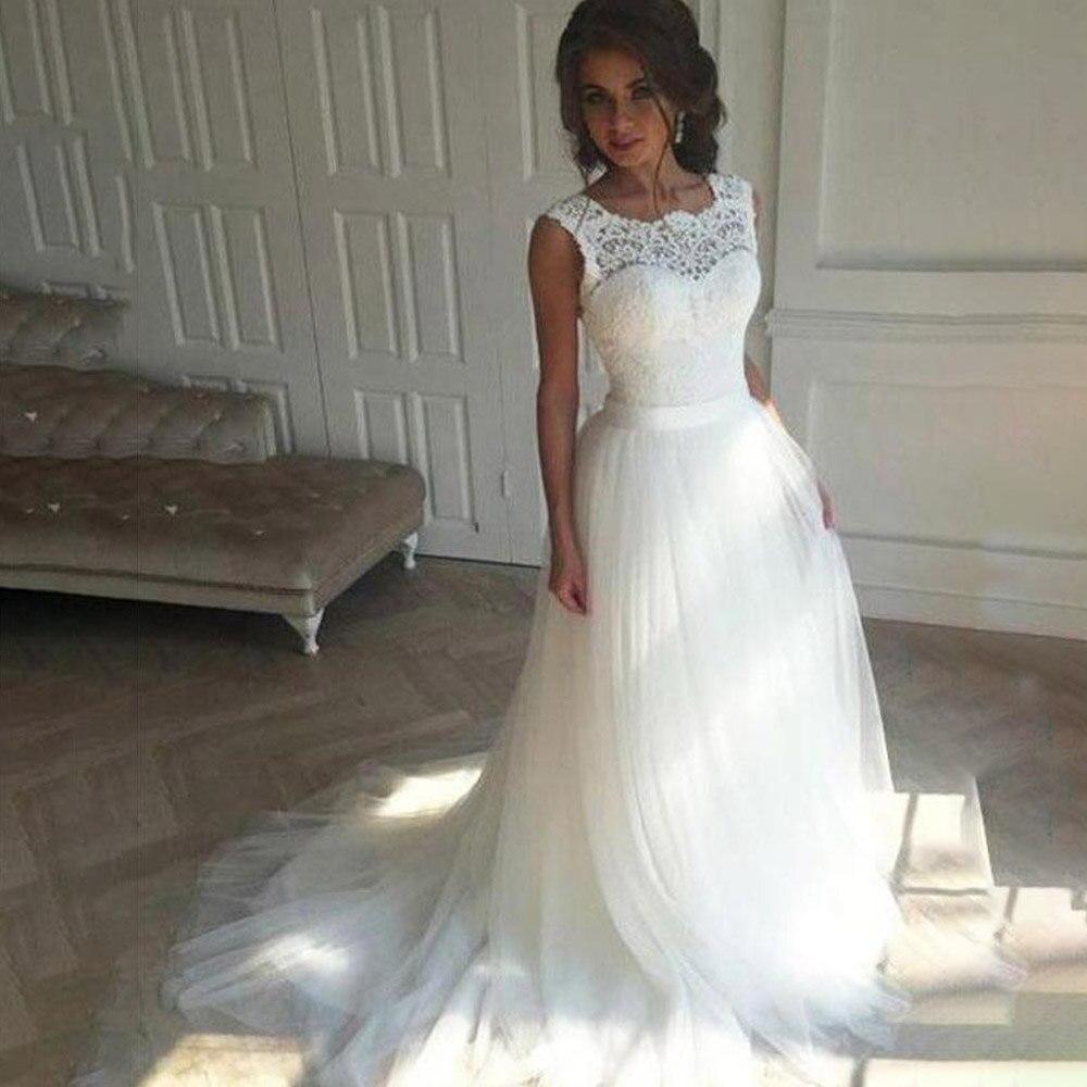 Boho Wedding Dress Abito Da Sposa Bridal Dresses 2019 White Lace Appliqued Tulle Weding Dress Back Lace Up Vestidos Novia