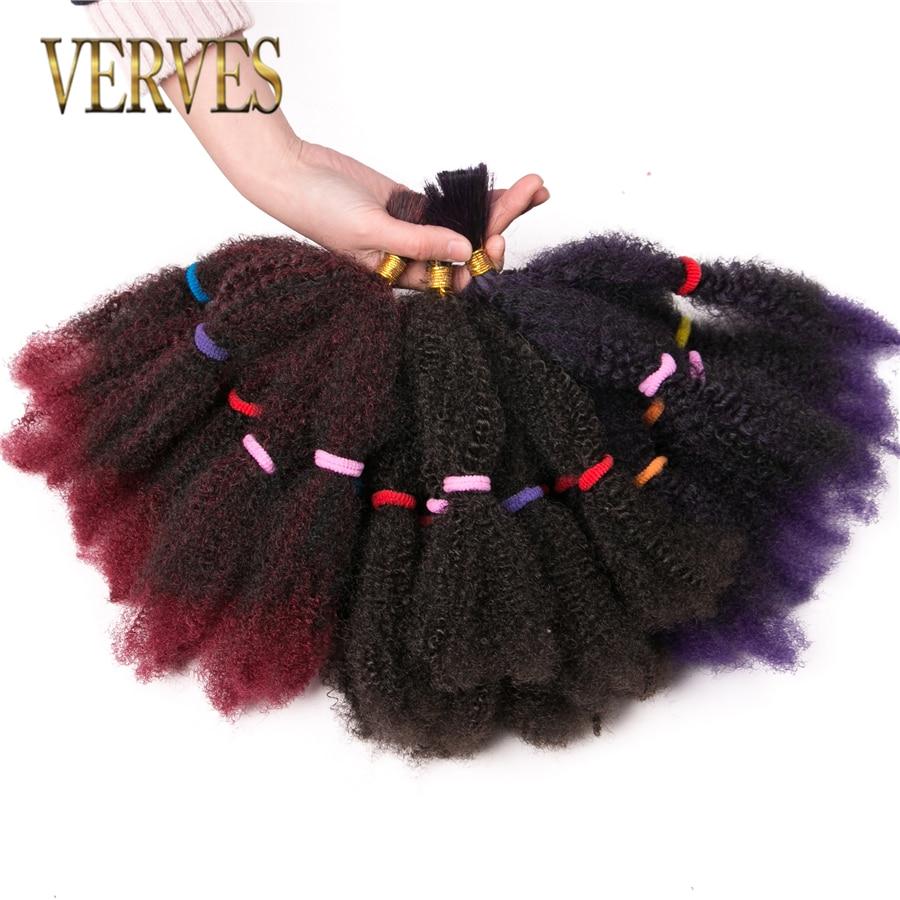 VERVES Culry Crochet Braids Hair Extensions 12 Inch Synthetic Ombre Braiding Hair Afro Kinky Bulk Twist Braids Bug,brown