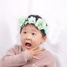 цена Green flower Crown Headbands Party Wedding Wreath Floral Garlands Hair Band Bridal Headdress Hair Accessories kids