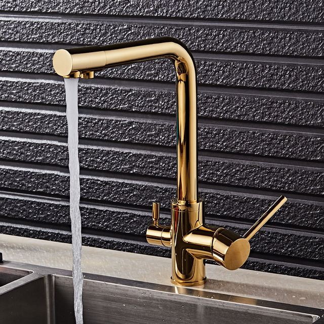 Gold Kitchen Faucet With Filtered Water Deck Mounted Drinking Water Mixer Tap Brass Gold Kitchen Faucet Filter