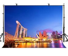 7x5ft Evening City Backdrop Seaside Night Scenery Photography Background and Studio Props