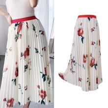 Brand new design white floral print pleated skirts 2019 summer elegant women's skirts A419