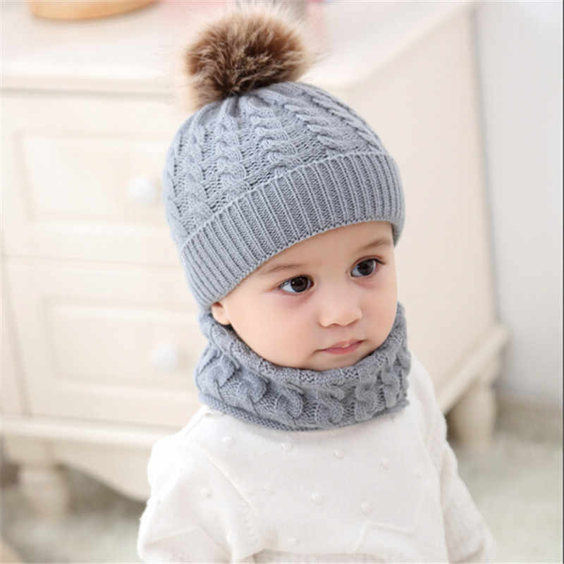 cbbaabfdd09 pudcoco 2018 New Baby Boy Girl Solid Knit Hats   Caps +Scarf boys Winter Hat