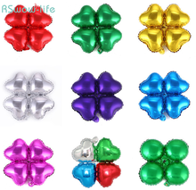 18 Inch Aluminum Film Balloon Arches Four Leaf Clover Heart Balloons For Celebration Wedding Decoration Birthday Party