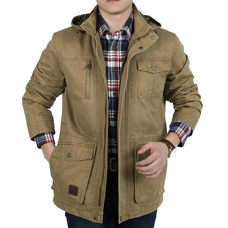 Plus Size Brand Men's Hooded Jacket Spring Autumn Casual Jacket Men With Many Pockets Military Design Cargo Outerwear Men Coat