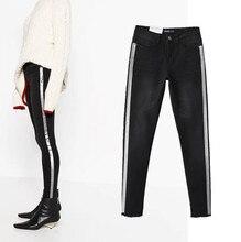 Бесплатная доставка джинсы женщина 2017 Европа и Соединенные Штаты женская боковой ветер горячего тиснения упругой жан ноги штаны хорошее стрейч