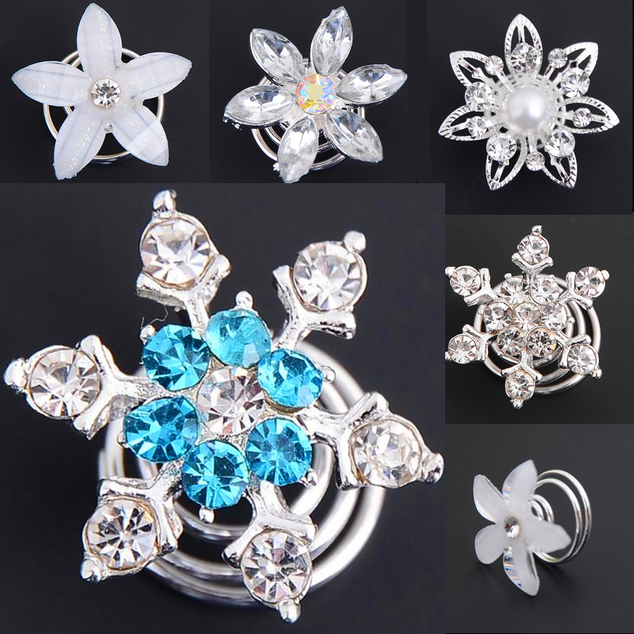 6pcs Bridal Wedding Prom Crystal Pearl Flower Hair pins Swirl Spiral Twist Snowflake Hairpin ...