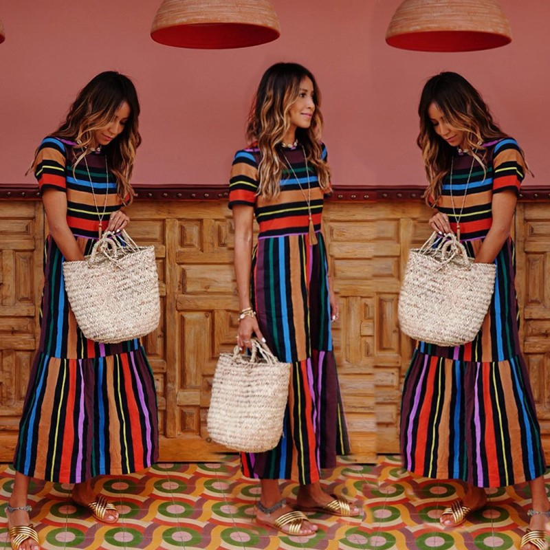 BEFORW 19 Harajuku Casual Dress Women Clothes Fashion Rainbow Stripe Long Dress Vestidos Female Summer Beach Maxi Dresses 10