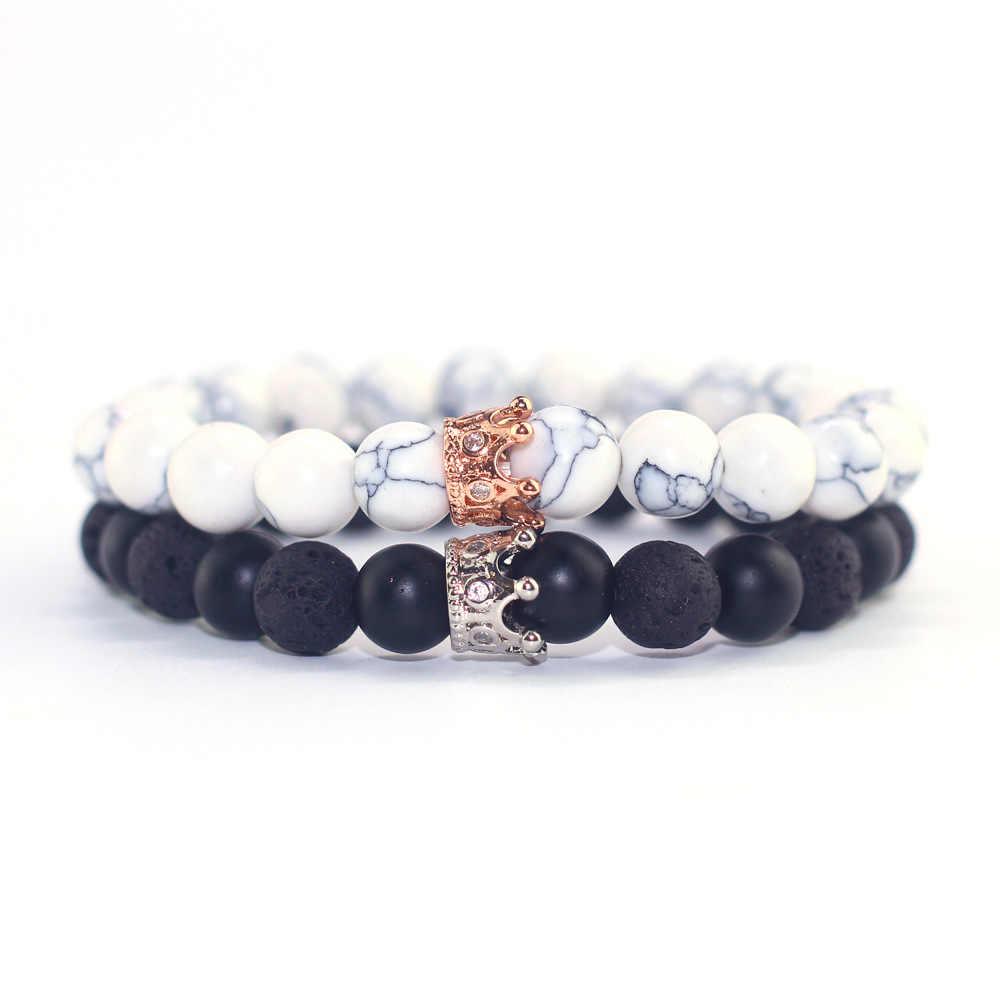 Para bransoletka Charms koraliki z kamienia mężczyźni biżuteria korona bransoletki dla kobiet bransoletki Pulseira Masculina Bileklik Pulseira Feminina