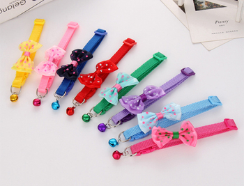 100pcs/lot pet dog collar bow bell collar collar multicolor cat collar pet supplies wholesale