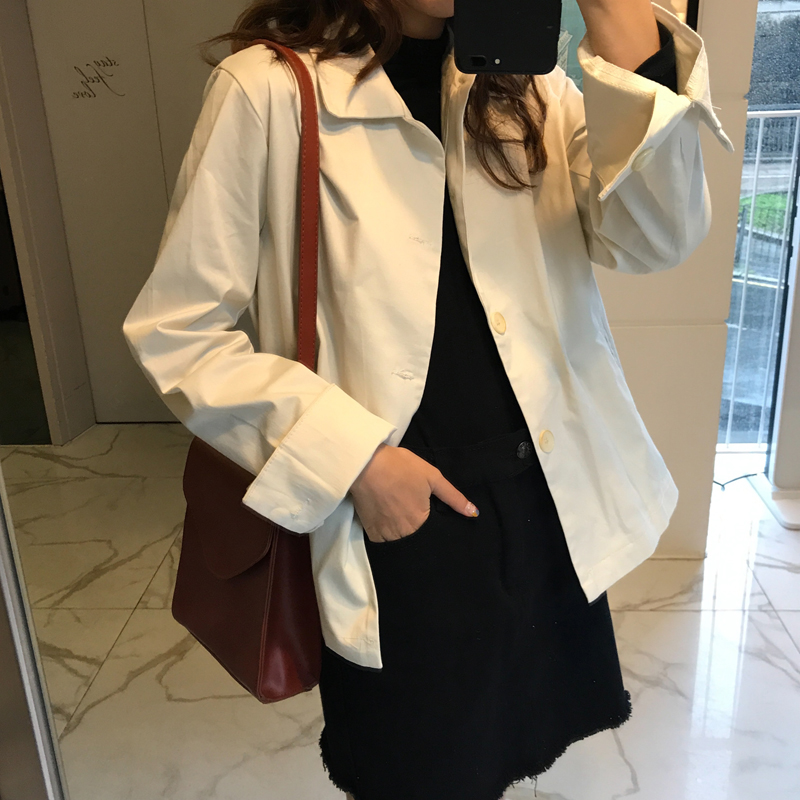 2 colors Women autumn korean style short Trench Coat Female Windbreaker Out long sleeve solid color coat womens (C6219 )