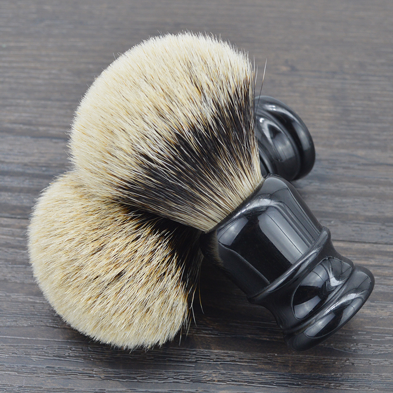 DSCOSMETIC Men 2 Band Badger Hair And Black Resin Handle Shaving Brush