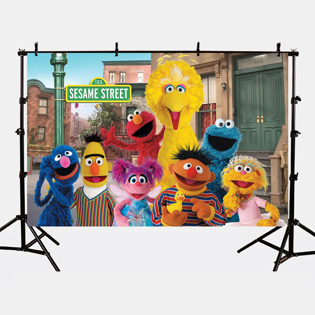 Mehofoto Sesame Street Backdrops for Photography Cartoon Birthday Theme Party Photo Background Shoot for Kids Photographic 297