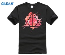 harry - Deathly Hallows - pink and red watercolours splashes background - ender wand, invisibility cloak, 100% cotton(China)