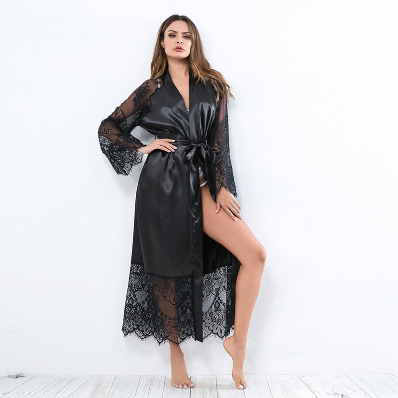 Sexy Sleepwear Lingerie Women Silk Long Nightgown Summer Lace Patchwork Satin Kimono Robe Ladies Solid Long Sleeve Robes 13