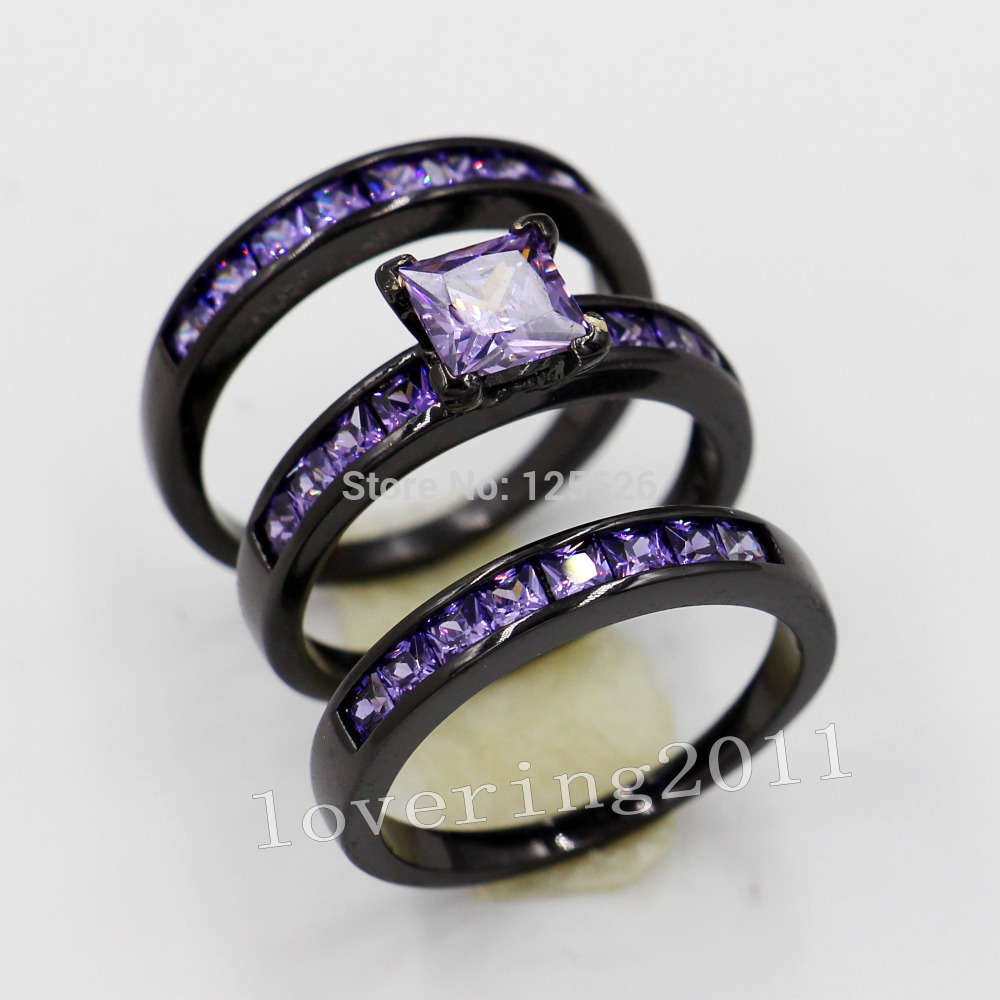 black and purple wedding rings choucong women fashion jewelry 10kt black gold filled 1807