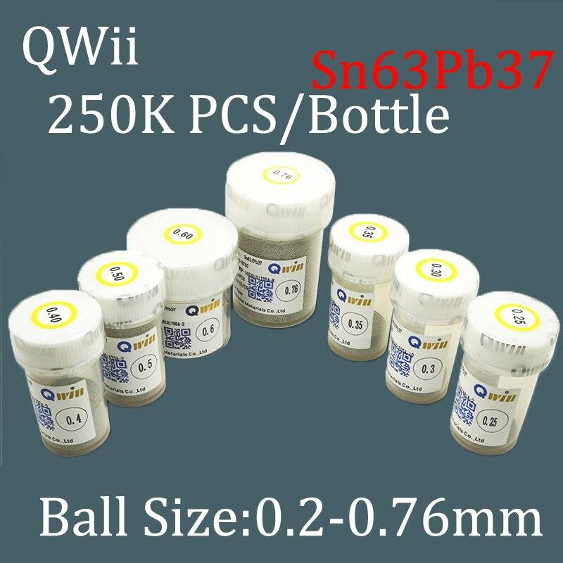 Sn63Pb37 Qwii 250k/bottle 0.2 0.25 0.3 0.34 0.4 0.45 0.5 0.55 0.6 0.65 0.76mm BGA Solder Balls Leaded for Reballing Rework pmtc 250k 0 5mm leaded free bga solder ball for bga repair