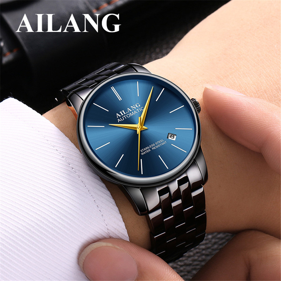 2018 AILANG Utra Thin Mechanical Watches 30m Waterproof Stainless Steel Band Business Wristwatches Mens Watches Top Brand Luxury 2016 hot sale top brand ailang luxury men watches casual fashion waterproof stainless steel wristwatches mechanical watch