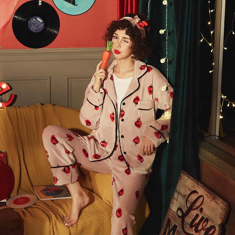 JINUO/популярный дизайн зимняя женская фланелевая Толстая Пижама комплект