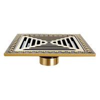 Shower Drain Euro Antique Brass Floor Drain 15cm Cover Shower Square Waste Grate Strainer Hair Bathroom Bath Accessories