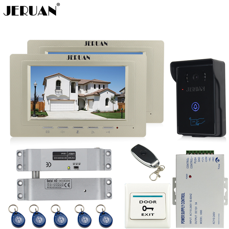 JERUAN two luxury 7`` Video Intercom Video Door Phone System+700TVL RFID Access Waterproof Touch key Camera+Electric Bolt lock jeruan 7 inch video door phone intercom system kit rfid touch key waterproof access camera 180kg magnetic lock remote control