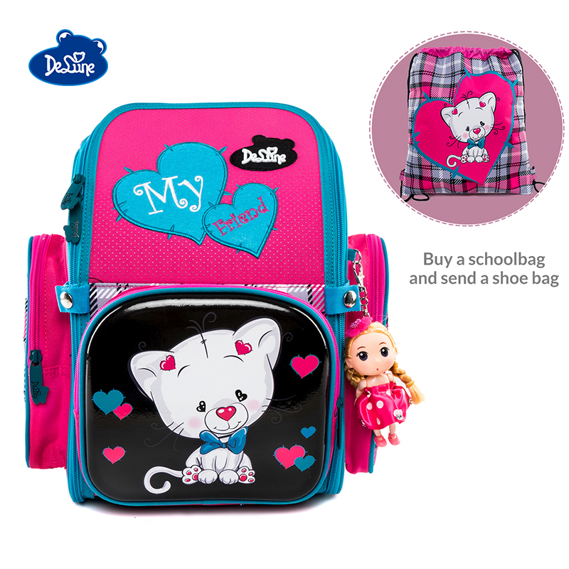 Delune Brand Orthopedic Primary School Bag for Children Girls Cute Cat Backpack Shoes Bag Gift Mochila