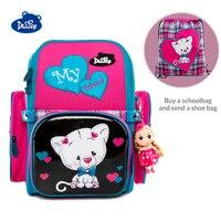 Delune العلامة التجارية العظام الابتدائية حقيبة مدرسية للأطفال الفتيات لطيف القط الأحذية على ظهره حقيبة هدية Mochila Infantil الصف 1-3