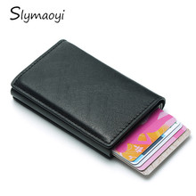 Male Card Holder RFID Aluminium Alloy Credit 2019 Newest Metal Leather Wallet Antitheft Men Automatic Case