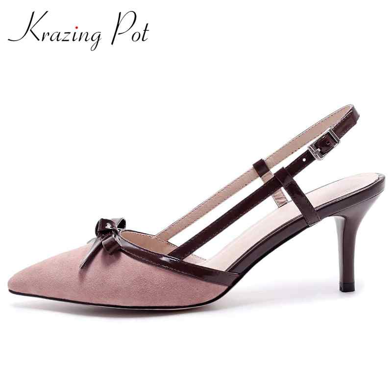 krazing pot new kid suede butterfly-knot slingback sandals women high heel solid party pointed toe buckle strap summer shoes L09 venchale 2018 summer new cow leather solid outside butterfly knot high thin heel three colors casual pointed toe women s slides