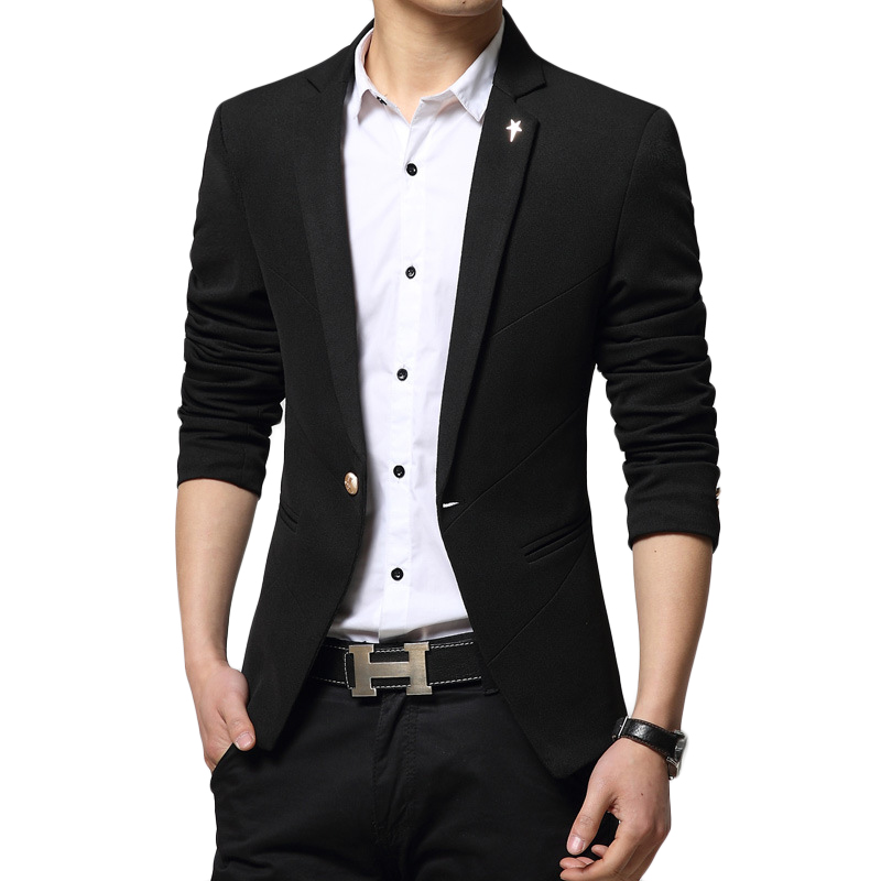 Mens Blazer New Arrivals 2017 Turn Down Collar Blazer Masculino Slim Fit Brand Casual Single Button Blazer Homme Men Suit Jacket