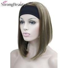 Strong beauty demi dames 3/4 perruque avec bandeau droit synthétique Capless cheveux femmes perruques 10 couleurs