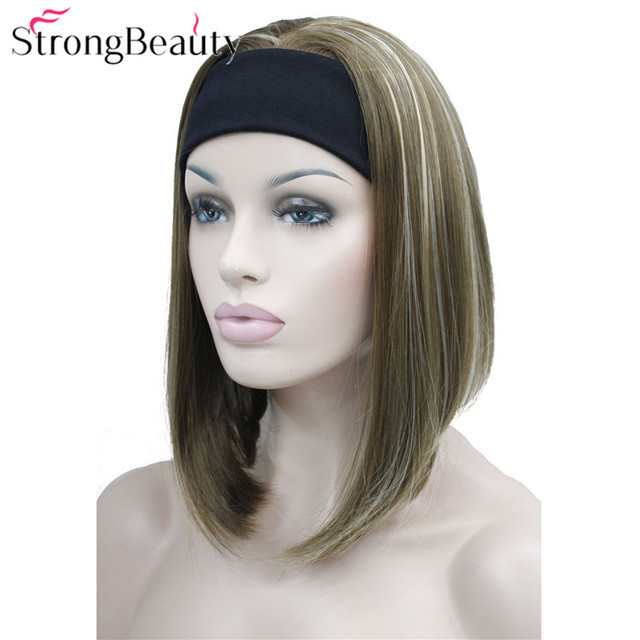 StrongBeauty Half Ladies 3/4 Wig With Headband Straight Synthetic Capless Hair Women Wigs 10 Colors