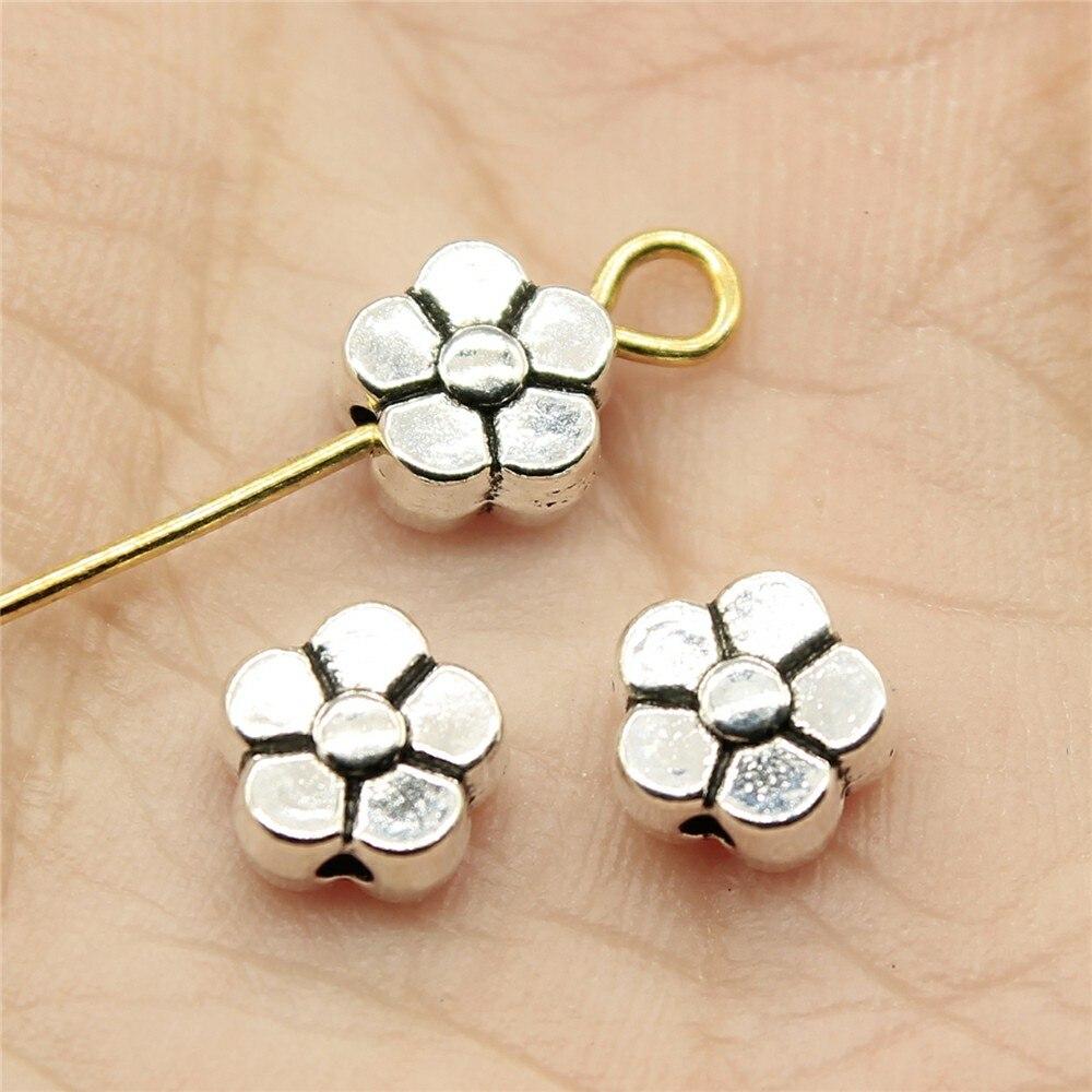 WYSIWYG 20pcs 6x6x3mm Flower Beads Charms Flower Charms Small Hole Beads Flower Small Hole Spacers Beads Charm