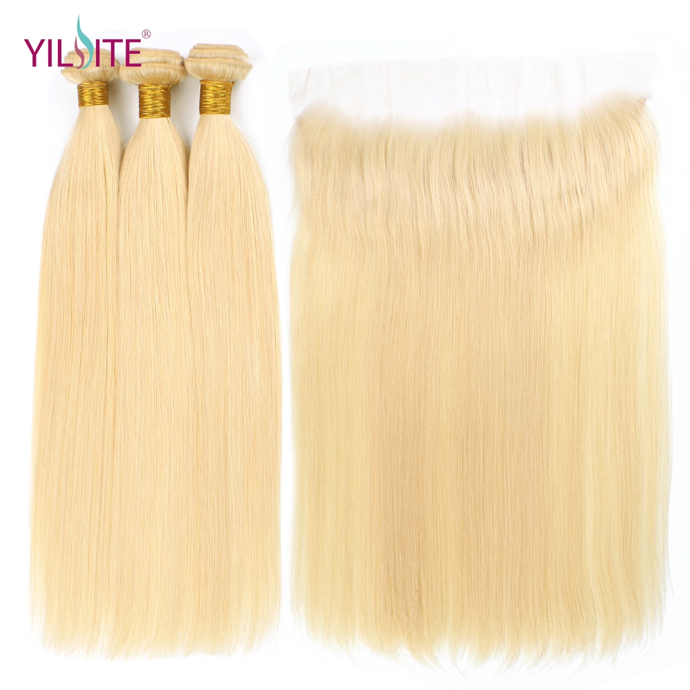 YILITE Remy Hair Blonde Color Hair Wefts 3 Bundle With 13*4 Ear To Ear Lace Frontal Closure Brazilian Human Hair Blonde 613 Hair