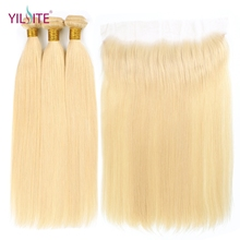 YILITE Remy Hair Blonde Color Wefts 3 Bundle with 13*4 Ear to Lace Frontal Closure Brazilian Human 613