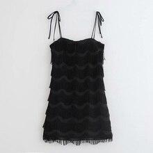 Sling Black Tassel Dress Women Solid Casual Summer Sexy Sleeveless Slim Female Straight Mini Classic Dresses
