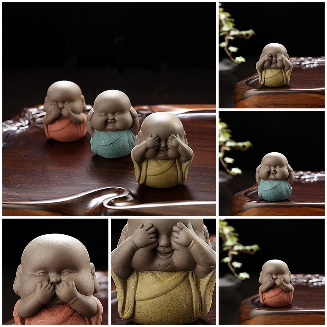 JX-LCLYL Speak Hear See NO Evil Ceramic Buddha Monk Statue Tea Pet Desk Shelf Home Decor
