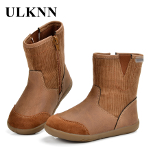 ULKNN Children Snow Boots Kids Genuine Leather Girls Winter Boys With Zipper Shoes For Spring Autumn