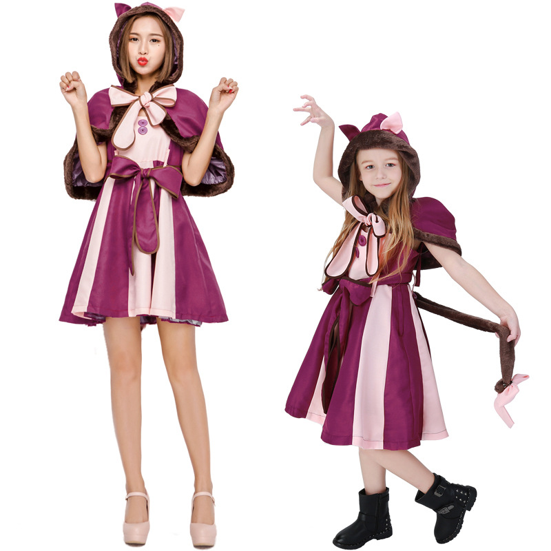 NOWCOS Alice In Wonderland Costume Cheshire Cat Cosplay Dress For Adult Kids Halloween Fancy Party Suit Parent child Clothes