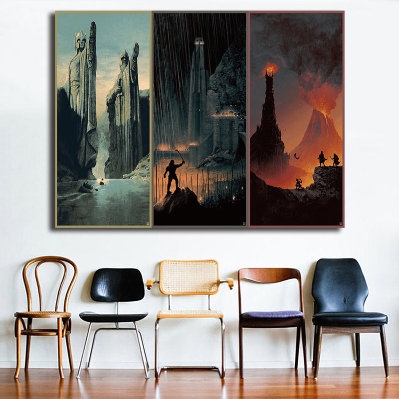 The Lord Of The Rings Trilogy Poster Set And The Hobbit Vintage Art Canvas Print Wall Picture Modern Home Room Wall Decoration image