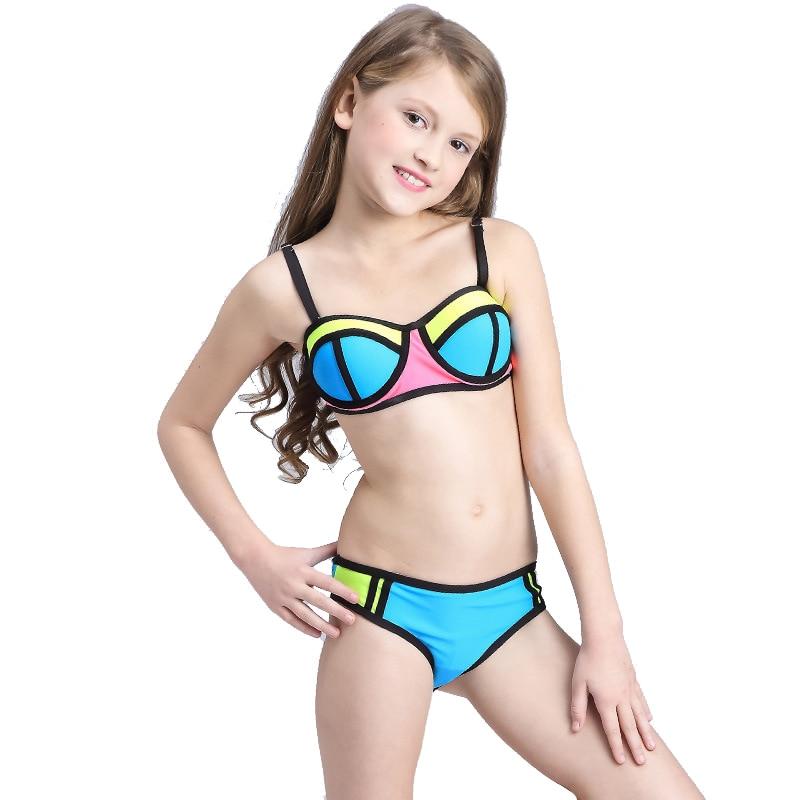 patchwork due pezzi costume da bagno delle ragazze bikini bambini 2017 bambini costumi da bagno per